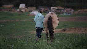 En ung kvinna leder en häst utomhus tillbaka sikt suddighet bakgrund arkivfilmer