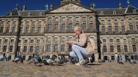 En ung kvinna matar duvor i mitten av Amsterdam i fördämningfyrkant Turism i det Europa och Nederländerna begreppet lager videofilmer
