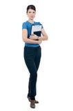 En ung kvinna med en clipboard Royaltyfri Fotografi