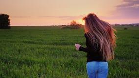 En ung kvinna med härligt långt hår kör längs det gröna fältet Ultrarapidsteadicamvideo stock video