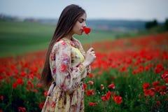En ung kvinna med långt hår som bär i klänningen som står i vallmoblommafält, luktar vallmo, landskapbakgrund arkivbild