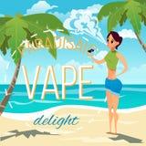 En ung kvinna röker en elektronisk cigarett och producerar ett moln av rök Advertizingillustration royaltyfri illustrationer