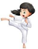En ung kvinna som gör karate royaltyfri illustrationer