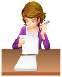 En ung kvinna som tar en examen vektor illustrationer