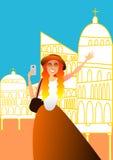 En ung kvinna som tar foto från hennes smartphone medan på ferie i en europeisk stad royaltyfri illustrationer