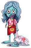 En ung kvinnlig levande död med en docka royaltyfri illustrationer
