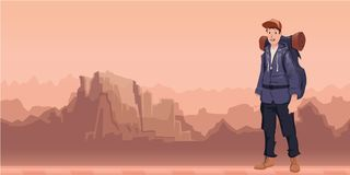 En ung man, fotvandrare i berglandskap Fotvandrare utforskare Vektorillustration med kopieringsutrymme vektor illustrationer