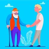 En ung man hjälper frivilligt gamala mannen Idén av att stötta en person för att avgå Isolerad vektorillustration i tecknad films royaltyfri illustrationer