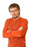 En ung man i exponeringsglasen Fotografering för Bildbyråer