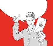 En ung man med ett post- julkuvert vektor illustrationer