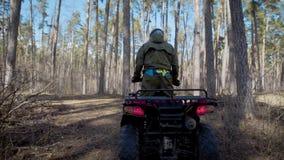 En ung man, som älskar ytterligheten som kör ritter en kvadratcykel till och med höstskogen som övervinner små hinder på stock video