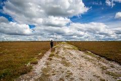 En ung man som bara går på en fotvandra slinga för plan högland Scenisk landskapsikt med härliga moln arkivbild