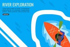 En ung man som Kayaking i en flod som är full av plan design för fisk royaltyfri illustrationer