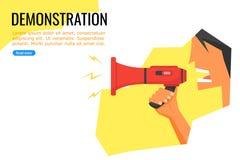 En ung man som talar under en demonstration genom att anv?nda megafonen stock illustrationer