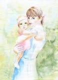 En ung moder med en behandla som ett barn i henne armar. Vattenfärgillustration Fotografering för Bildbyråer