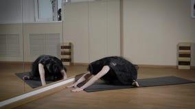 En ung och härlig kvinna utför en asana i en konditionklubba och underhåller den högra andedräkten för färdig avkoppling stock video