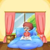 En ung pojkestudie i sovrum stock illustrationer