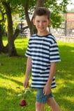 En ung romantisk pojke med en trendig frisyr och en ros Arkivbild