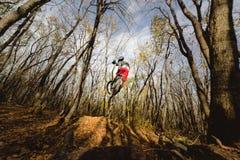 En ung ryttare på hjulet av hans mountainbike gör ett trick i banhoppning på språngbrädan av det sluttande berget arkivfoto