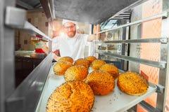 En ung stilig bagare tar nya varma bullar med vallmofrön från ugnen framme av bagerit royaltyfri fotografi