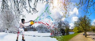 Fjädra färgstänk! Arkivfoton