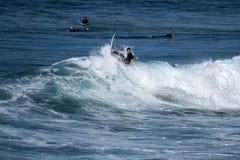 En ung surfare kommer in igen vågkammen Arkivbilder