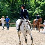 En ung tonårs- flicka rider en häst i showen för den Germantown välgörenhethästen Royaltyfria Foton