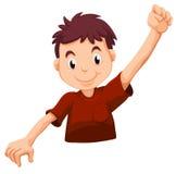 En unge som bär en röd skjorta Arkivfoto