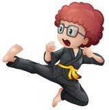 En unge som gör karate stock illustrationer