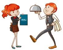 En uppassare och en servitris stock illustrationer