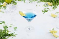 En uppfriskande blå coctail med limefrukt i ett martini exponeringsglas på en vit bakgrund Coctail på en bakgrund av grönska och  Arkivfoto