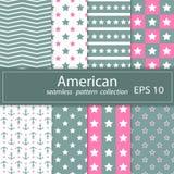 En uppsättning av åtta målningar Nautiskt tema för sömlöst tyg Grå färger rosa färger Designsjälvständighetsdagen i Förenta state stock illustrationer