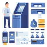 En uppsättning av affärsdelar och beståndsdelar av den finansiella processen: män med ATMEN, plast- kort, räkning, mynt, kontroll Arkivbild