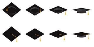 En uppsättning av akademiska koppar med tofsar i plan illustration för olik vinkelvektor stock illustrationer