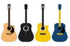 En uppsättning av akustiska klassiska gitarrer av olika färger på vit bakgrund Radmusikinstrument royaltyfri illustrationer