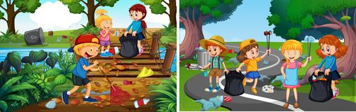 En uppsättning av ansvariga volontärungar stock illustrationer