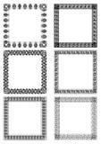 En uppsättning av art décoramar i vit och svart planlägger Royaltyfri Bild