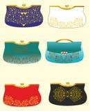 En uppsättning av artikeln med ensamrätt, stilfulla handväskor Royaltyfria Bilder