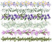 En uppsättning av att blomma vektorborstar En samling av blom- modeller för design, stickade plagg, textiler Handgjorda modeller vektor illustrationer