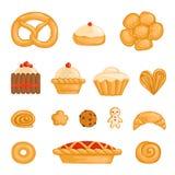 En uppsättning av bakat gods bagel, bröd, kaka, muffin, rulle, kex, pepparkakaman som är kurasan, munk, paj, ostkaka royaltyfri illustrationer