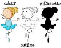 En uppsättning av balettflickan med olik grafisk design stock illustrationer