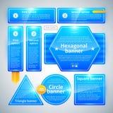 En uppsättning av baner av olika former Användbart för rengöringsdukdesign Royaltyfria Bilder