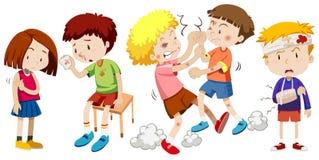 En uppsättning av barn får smärtar stock illustrationer