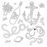 En uppsättning av beståndsdelar: snäckskal rep, ankare, octopu Royaltyfri Fotografi