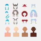 En uppsättning av beståndsdelar som skapar teckenet av flickan royaltyfria bilder