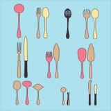 En uppsättning av bestick Besticksked, gaffel, blandare, knivar Bestick för att laga mat Royaltyfria Bilder