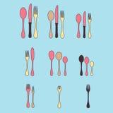En uppsättning av bestick Besticksked, gaffel, blandare, knivar Bestick för att laga mat En uppsättning av bestick för att tjäna  Royaltyfria Bilder