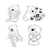 En uppsättning av björnar för färgläggningdiagram för bok färgrik illustration Fotografering för Bildbyråer