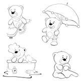 En uppsättning av björnar för färgläggningdiagram för bok färgrik illustration Arkivfoto