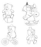 En uppsättning av björnar för färgläggningdiagram för bok färgrik illustration Royaltyfri Bild